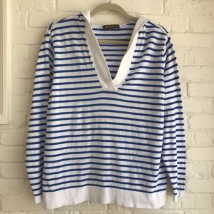 Tommy Bahama white & blue striped hoodie sweater